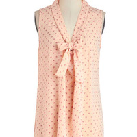 ModCloth Pastel Mid-length Sleeveless South Florida Spree Top in Pink Hearts