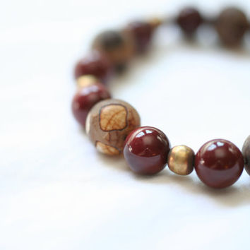 boho chic rustic bracelet / brown beaded stretch bracelet / caramel agate burgundy jasper / earth tones ethiopian brass ethnic jewelry