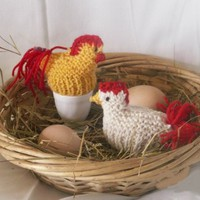 Egg Cozy Chicken Cosy Set of 2  For Eggs or Chocolate Egg Hand Knitted