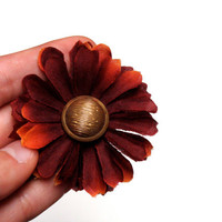 "Burgundy Hair Flower, Vintage Gold Button Hair Accessory, Orange Tipped Wine Flower Bobby Pin, Mum Hair Clip - ""I Wanna Be Lazy with You"""