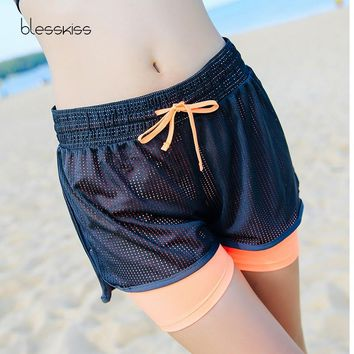 BLESSKISS Women Sport Fitness Yoga Shorts Lulu Biker Athletic Ladies Loose Sport Running Shorts Fitness Clothes Gym Workout