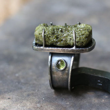FOREST-Olive Green Vesuvianite Druzy  Mineral &Peridot  Sterling Silver Ring Size 7.5 /