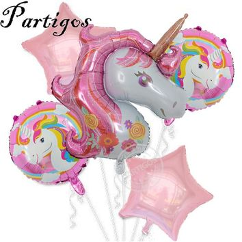 5pcs Large 116cm Purple Unicorn Balloons 18inch star and round happy birthday Balloons baby shower party Decor Helium Globoes