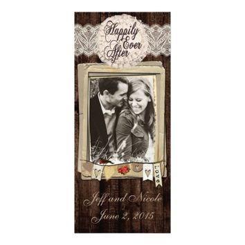Rustic Country Couple Photo Wedding Menu 4x9.25 Paper Invitation Card