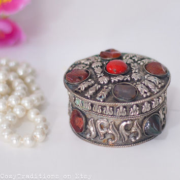 Jewelry Box: Vintage Metal Round Indian Jewelry Box Decorated with Stone Cabochons, Gift for Her