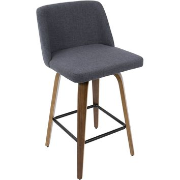 Toriano Mid-Century Modern Counter Stool with Blue Fabric, Walnut