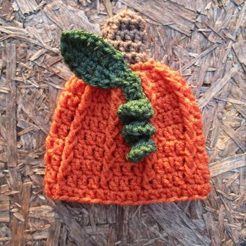 Crochet Pumpkin Hat Carrot Newborn Baby Photo Prop