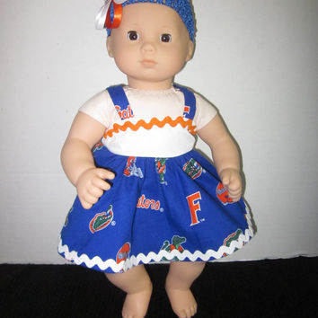 Bitty Baby Florida Gators Baby Doll Dress With Headband By Sweetpeas Bows & More