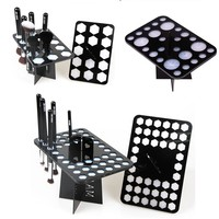 14/26/42 Holes Black Acrylic Makeup Brushes Holder Stand Collapsible Air Drying Makeup Brush Organizing Rack Cosmetic Holder