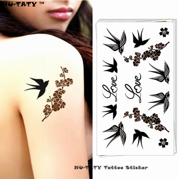 Nu-TATY Love Birds Swallow Temporary Tattoo Body Art Arm Flash Tattoo Stickers 17*10cm Waterproof Fake Henna Painless Tattoo
