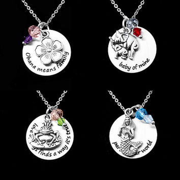 Characters necklaces with quotes Lilo e Stitch Dumbo Ariel Mermaid