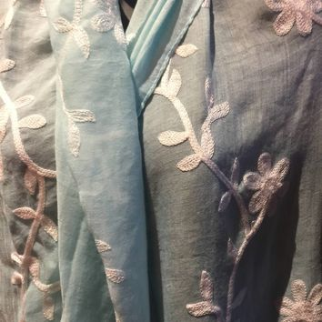 Vitage Styled Sheer pale blue flower embroidered wrap Shawl