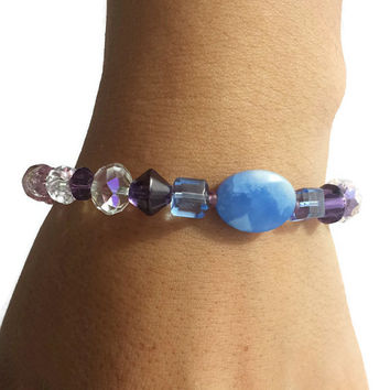 Blue Pink Purple Jewelry Crystal Jade Beaded Boho Bracelet Gemstone Stacking Bracelet Set Stretch Bracelets Handmade Womens Gift Best Friend