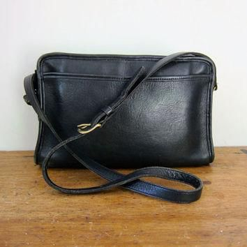 Vintage 80s Black Leather COACH Purse Rectangular Cross Body Saddle Bag Purse 90s Coac