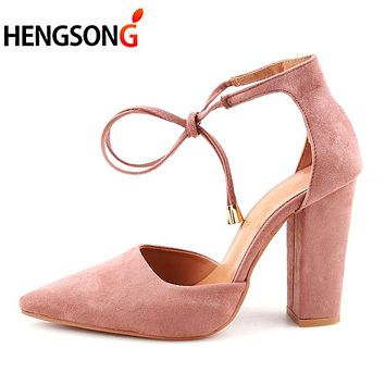 HENGSONG 2017 Sexy Retro High Heels Women's Sandals Summer Shoes Ladies Strappy Pumps Thin Air Heels Woman Lace Up Shoes 911519
