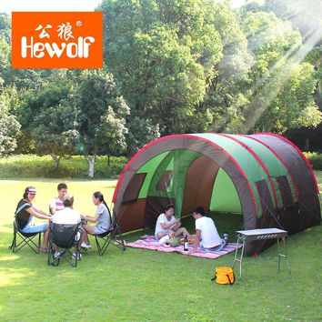 Hewolf Waterproof Double Layer 8-10 Person Outdoor Camping Tent Hiking Beach Tent Tourist Bedroom Travel China Barraca Tenda