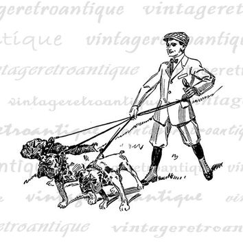 Printable Digital Boy Walking Bulldogs Image Dog Graphic Download Vintage Clip Art Jpg Png Eps  HQ 300dpi No.1164