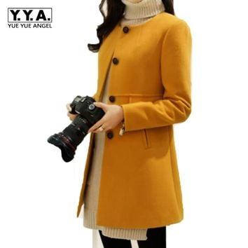 New Arrival Spring Womens Woolen Trench Female Long Sleeved Long Coat Jacket Slim Fit Fashion Wool Blend Outwear Size S-3xl