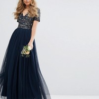 Maya V Neck Maxi Tulle Dress with Tonal Delicate Sequins at asos.com