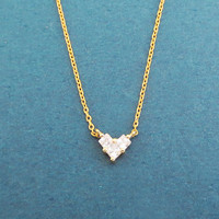 Tiny, Cubic, Crystal, Heart, Gold, Silver, Necklace, Birthday, Lovers, Best friends, Gift, Jewelry