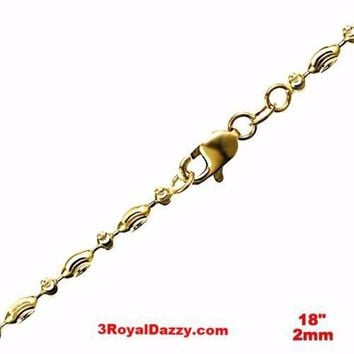 """14K Yellow Gold layered on 925 Silver diamond cut Moon Chain / Necklace-2mm- 18"""""""