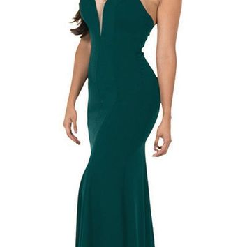 Deep V-Neck Halter Long Prom Dress Green