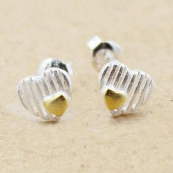 ONETOW 925 Silver Stylish Hollow Out Korean Accessory Earrings [8740088327]