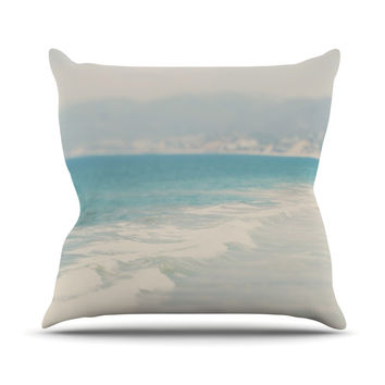 "Laura Evans ""Waves"" Blue Gray Outdoor Throw Pillow"