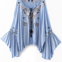 Light Blue Ethnic Retro Bell Sleeve Blouse