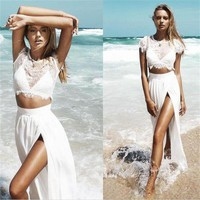 Long Two Piece Cap Sleeves White Prom dress