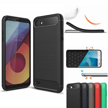 Case For LG-Q6 Q6A M700,Hybrid Soft TPU Carbon Fiber Phone Case Back Cover for LG-Q6 Coque 5.5 inch