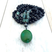 Turquoise And Fluorite Mala Beads, Black Ebony Wood Mala Necklace, Yoga Jewelry, Wood Prayer Beads, 108 Mala Necklace, Black Mala Beads