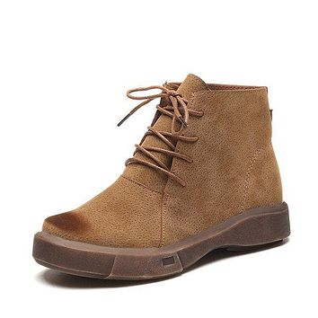 Suede Lace Up Ankle Boots For Women