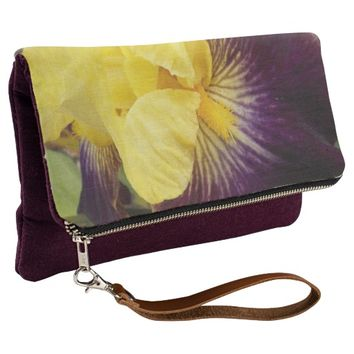 Purple and Yellow Iris Floral Clutch
