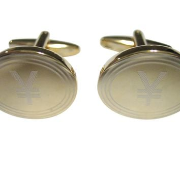 Gold Toned Etched Oval Japanese Yen Currency Sign Cufflinks