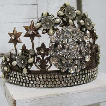 Brass tiara crown French Santos embellished with vintage rhinestone jewelry findings shabby chic home decor anita spero