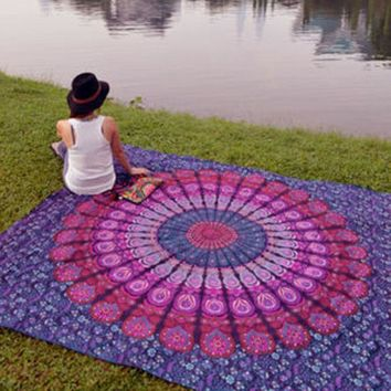 ESBU3C Indian Mandala Tapestry Hippie Home Decorative Wall Hanging Tapestries Boho Beach Towel Yoga Mat Bedspread Table Cloth 210x148cm