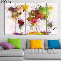 Large World Map Watercolor Canvas Painting
