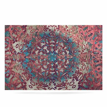 "Nina May ""Magi Mandala Rose Gold"" Coral Teal Abstract Ethnic Mixed Media Painting Luxe Rectangle Panel"
