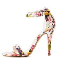 White Combo Floral Single Sole Ankle Strap Heels by Charlotte Russe