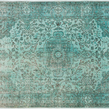 "Sold. 6'9"" x 10'0"" Blue Green Turkish Overdyed Rug"