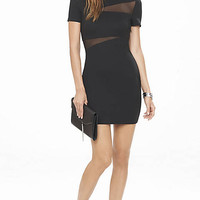 Mesh Inset Jacquard Dress from EXPRESS