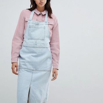 Mads Norgaard Denim Pinafore Dress at asos.com