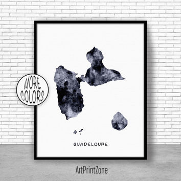 Guadeloupe Print, Office Art Print,  Guadeloupe Map Print, Map Art, Map Artwork, Office Decorations, Country Map, Art Print Zone