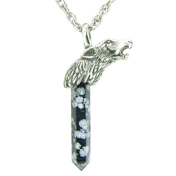 Protection Powers Wolf Head Amulet Crystal Point Snowflake Obsidian 18 Inch Pendant Necklace