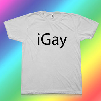 iGay - Apple Mac Parody Funny Gay T-Shirt - 100% Polyester Unisex T-Shirt - Sizes: Medium, Large