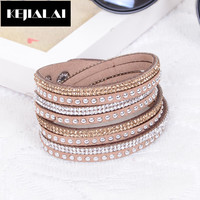 Hot Sale Multilayer Bracelets for Women High Quality Leather Wrap Shine Rhinestone Crystal Slake Leather Deluxe Bracelets Mulher