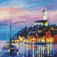 "BLUE-PORT — Palette Knife Oil Painting On Canvas By Leonid Afremov SIZE: 24""x24"""