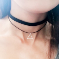 Women Jewelry Black Double Layer Leather Choker Necklace Elastic Adjustable Lady Patty Neck Accessories with Geometric Pendant