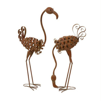 2 Lawn Art Flamingos - Metal Cut-out Design